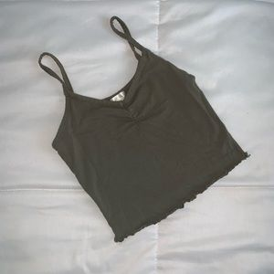COPY - Army green cropped tank top.
